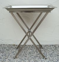 Silver Hammered Tray Table with Removable Tray | Chairish