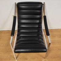 Italian Chrome Lounge Chair and Ottoman | Chairish