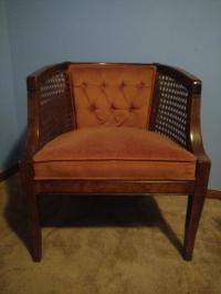 Vintage Mid-Century Modern Barrelback Cane Chair | Chairish