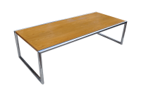 Mid-Century Pine and Chrome Coffee Table | Chairish