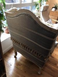 Anthropologie Gray Wingback Chair | Chairish