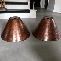 Two Vintage Amber Mica Lampshades | Chairish