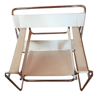 Mid Century Modern White Leather Wassily Style Chair ...