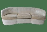 Cream Leather Curved Back Sofa | Chairish