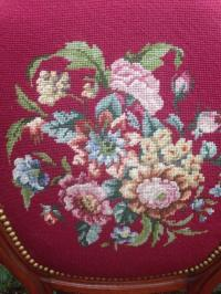 Antique Victorian Floral Needlepoint Chair | Chairish