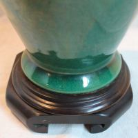 Vintage Chinese Green Porcelain Urn Lamp | Chairish