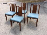 Mid-Century Modern Curved Burl Wood Dining Chairs- Set of ...