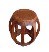 Chinese Solid Wood Huali Barrel Round Stool | Chairish
