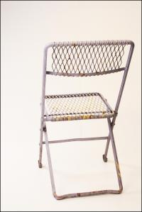 Vintage Purple Mesh Folding Metal Chairs - A Pair | Chairish