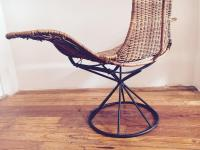 Laverne Mid-Century Modern Wicker Tulip Lounge Chair ...