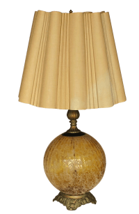Single Gold Crackle 1950s Lamp | Chairish