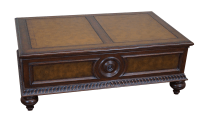Ethan Allen Leather Top Morley Coffee Table | Chairish