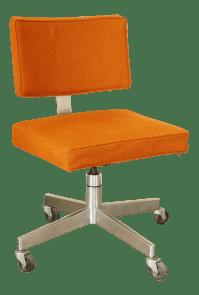 Mid-Century Modern Upholstered Rolling Desk Chair | Chairish