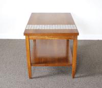 Lane Mid-Century Tile & Wood End Table | Chairish