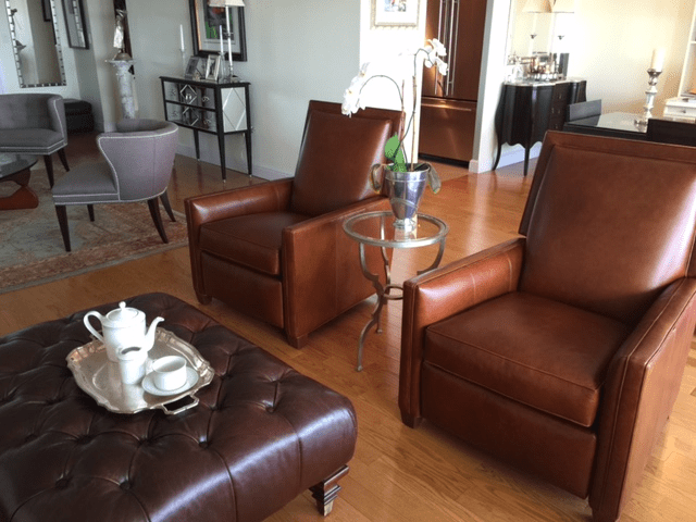 ethan allen recliners chairs chair and a half rocker randall leather recliner | chairish