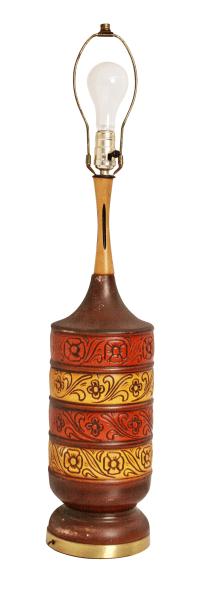 Brown & Orange Vintage Art Pottery Table Lamp