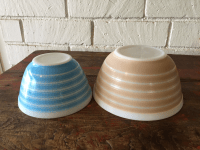Pyrex Blue and Tan Striped Mixing Bowls - A Pair | Chairish