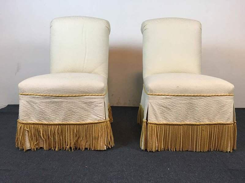 Contemporary White  Slipcovered Side Chairs  A Pair