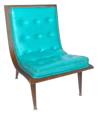 Aqua Mid-Century Modern Bentwood Scoop Chair | Chairish