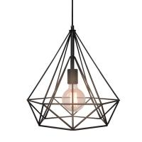 Geometric Industrial Black Pendant Light | Chairish