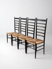 Mid-Century Black Ladder Back Chairs Set of 4 | Chairish