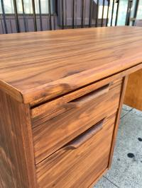 Mid-Century Desk With Sculpted Pulls | Chairish