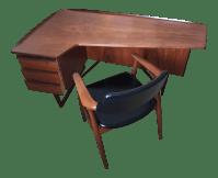 Peter Lovig Mid-Century Corner Writing Desk & Chair | Chairish