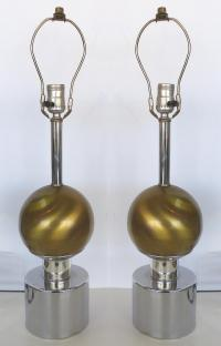 Mid-Century Brass & Chrome Table Lamps - Pair | Chairish
