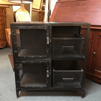 Restoration Hardware Industrial Metal Cabinet | Chairish