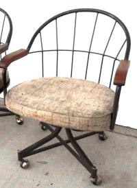 Mid Century Tweed Wire Back Swivel Chair | Chairish