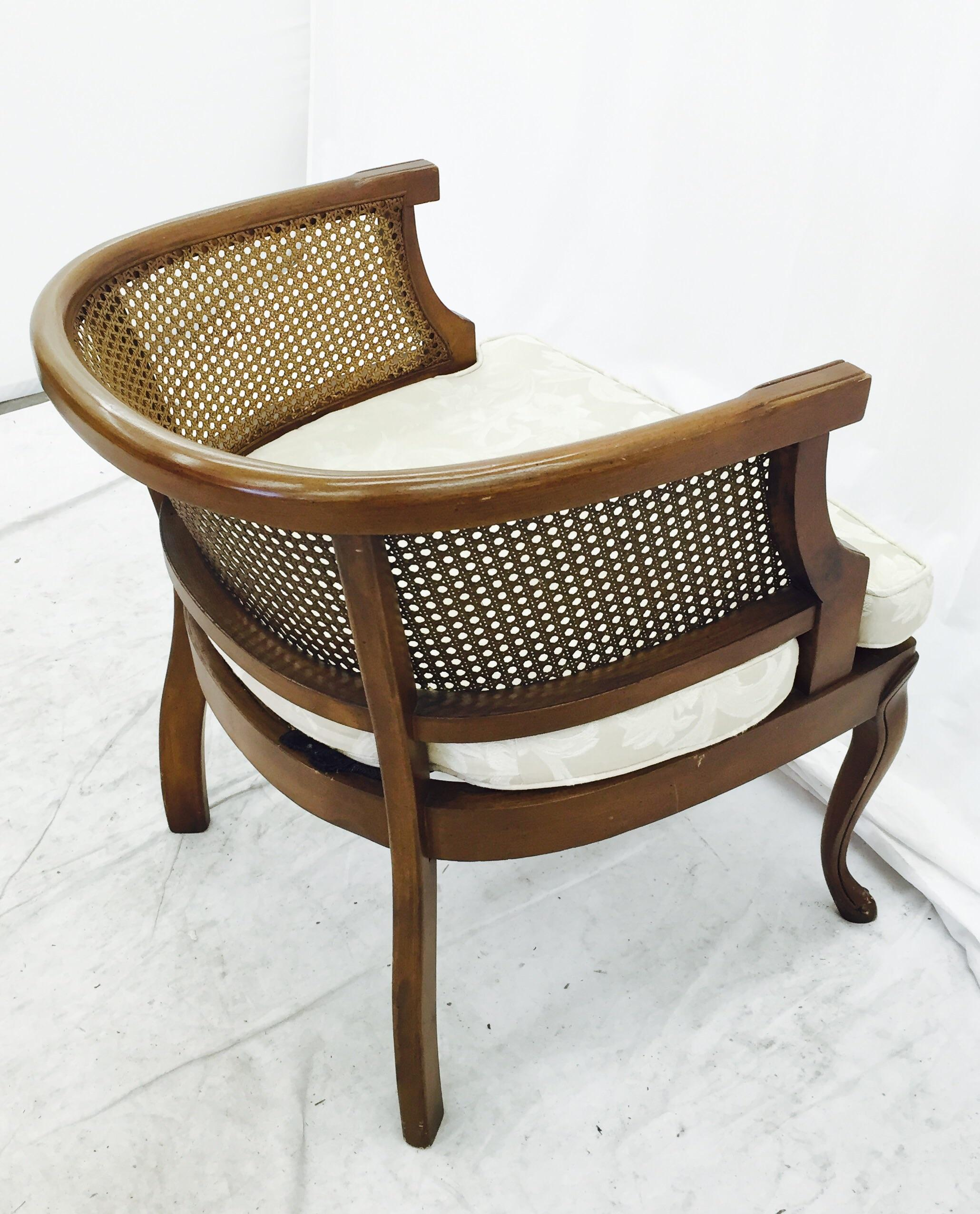 mid century modern cane barrel chairs wrought iron vintage mid-century side back chair | chairish