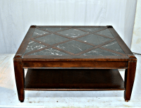 Vintage Solid Wood Coffee Table W/Marble Top | Chairish
