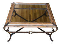 Traditional Wood & Glass Coffee Table   Chairish