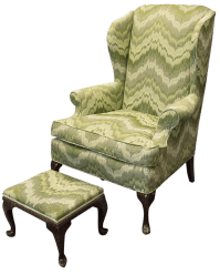Queen Anne-Style Wingback Chair & Ottoman | Chairish