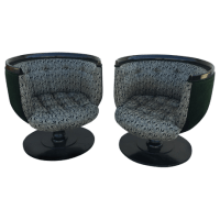 Mid Century Modern Swivel Barrel Chairs - Pair | Chairish