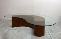 Kidney Shape Walnut Coffee Table with Glass Top | Chairish