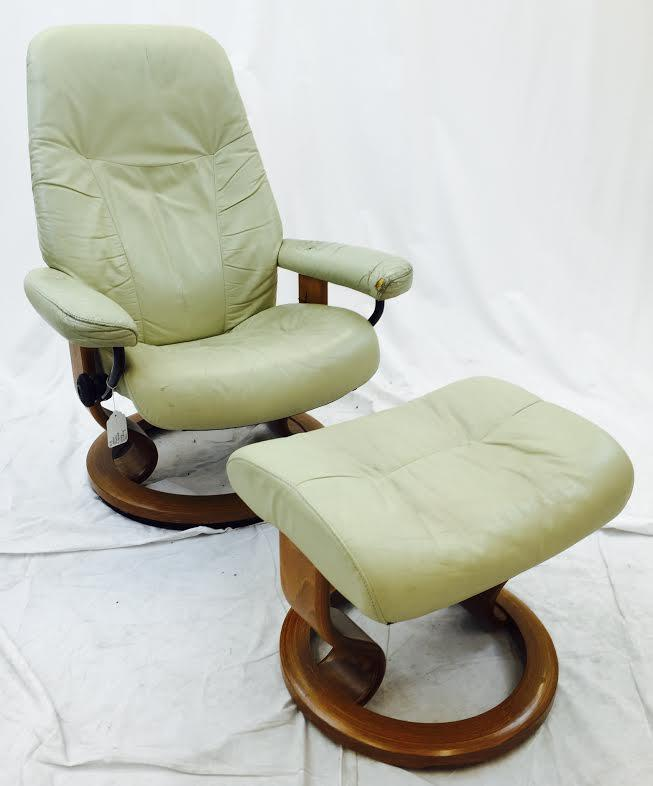 black leather club chair and ottoman oak barrel chairs for sale vintage ekornes norway stressless &   chairish