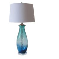 Turquoise Green/Blue Tall Blown Glass Lamp | Chairish