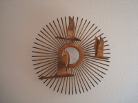 Vintage Brass Sunburst Wall Art | Chairish