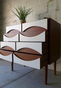 Mid Century Modern Teak + White Dresser | Chairish