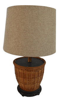 Asian Basket Lamp & Linen Shade | Chairish
