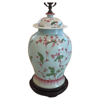 Vintage Pink & Green Ginger Jar Chinoiserie Lamp