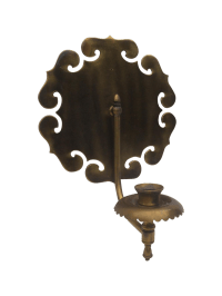 Bronze Chinoiserie Lotus Wall Candle Sconce | Chairish