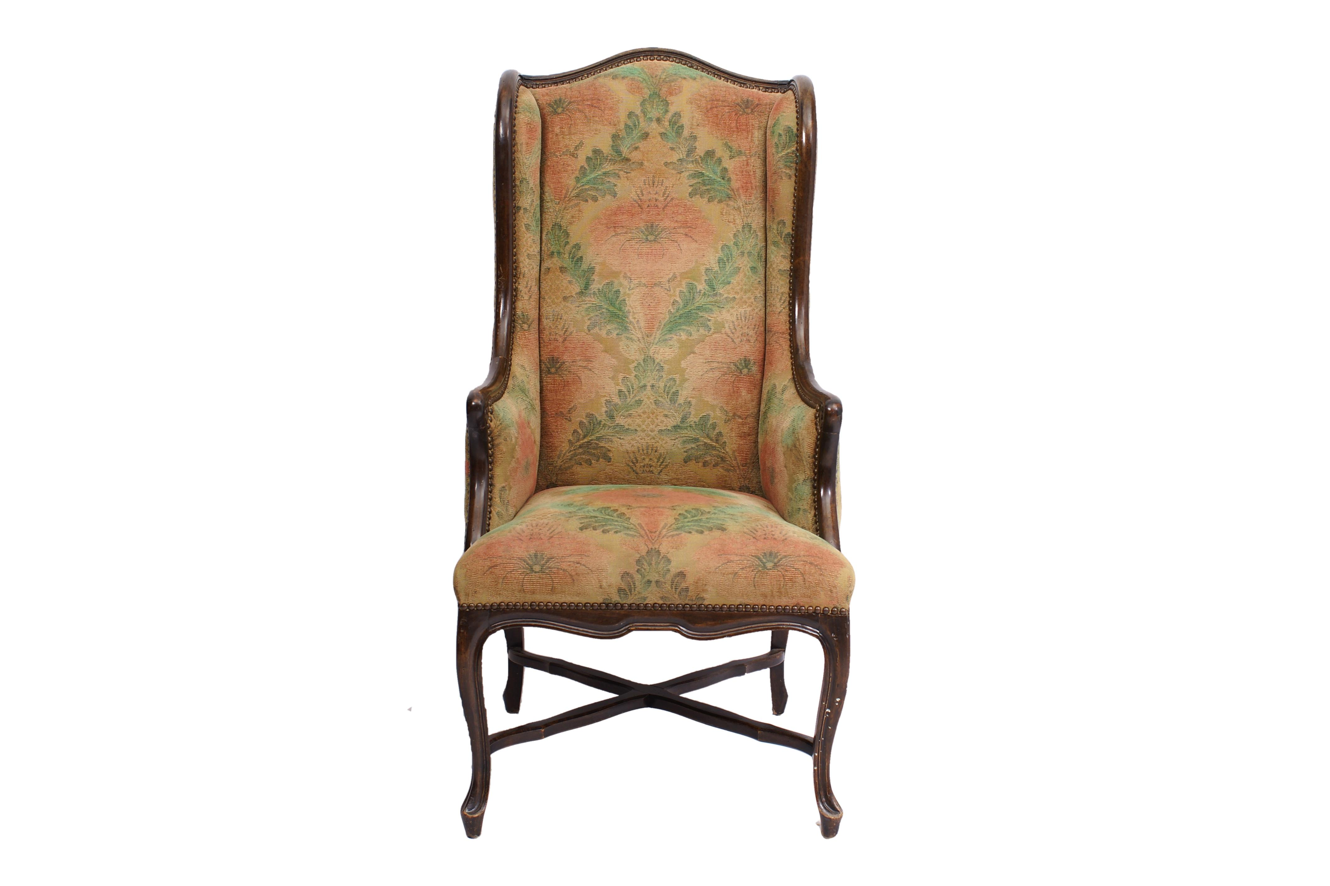 Tall Narrow Floral Wing Chair  Chairish