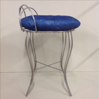 Mid-Century Modern Polished Steel Vanity Chair | Chairish