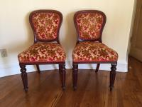 Antique Victorian Style Wood & Velvet Chairs - A Pair ...