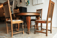 Antique Clawfoot Farm Table Dining Set | Chairish