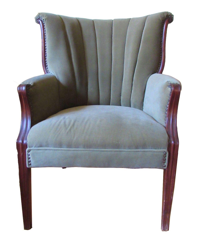 1930s Velvet Upholstered Fan Back Chair  Chairish