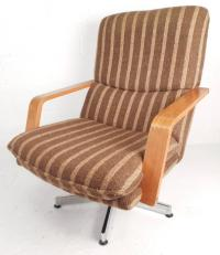 Mid-Century Teak & Chrome Swivel Lounge Chair With Ottoman ...