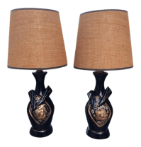 Black Gold Ceramic Mid Century Boudoir Lamps